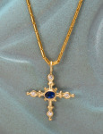 Sparkling Nautical Cross with Sapphire