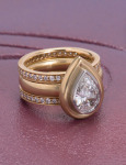 Kashmir Diamond Pear Ring View 1