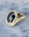 Rose Cut Black Diamond Swoop Ring View 1